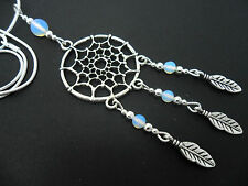 "A LOVELY TIBETAN SILVER/OPALITE DREAMCATCHER NECKLACE ON 18"" SNAKE CHAIN. NEW."