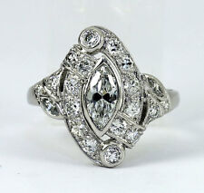Antique platinum diamond deco ring old mine round marquise brilliant 1.52CT sz 6
