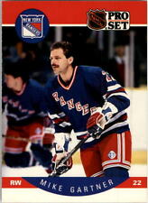 1990-91 PRO SET HOCKEY MIKE GARTNER CARD #196 NEW YORK RANGERS NMT/MT-MINT