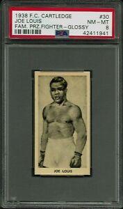 1938 F.C. CARTLEDGE GLOSSY 30 JOE LOUIS PSA 8 NM-MT POP 16 FAMOUS PRIZE FIGHTERS