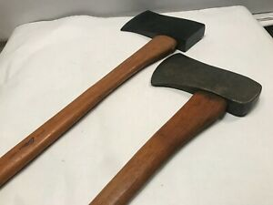 """TWO Vintage Collins Ax Axes Genuine Hickory Handle 33-¾' Length 7-½"""" USA"""