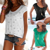 Simple Women Summer Casual Short Sleeve Star Printed T-Shirt Blouse Loose Tops