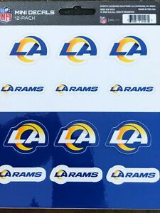 LOS ANGELES RAMS - 12 Pack of Mini Decals - High Quality Licensed Stickers