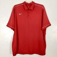 cf3a80ff7e64 Nike Mens Dri-Fit Polo Golf Shirt Size XXL 2XL Short Sleeves Red White  Tennis
