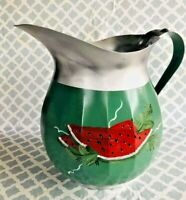 Vintage Light Aluminum Pitcher Hand Painted American Maid made in USA