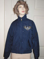 Disney Mickey Mouse Navy Blue Faux Fur Hoodie Jacket Coat Womens S Small