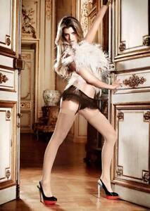 Baci Cream Jacquard Thigh High Stockings, One Size