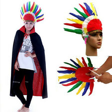 Boys Girls Headdress Indian Native American Chief War Bonnet Feathers Colorful