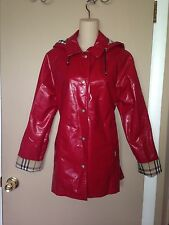 BURBERRY RED COLOR LONDON LADIES RAINCOAT JACKET SIZE M.