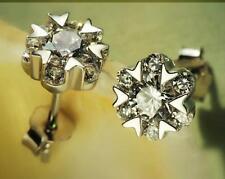 925 Sterling Silver Earrings Women's AAA Crystal Heart Ear Stud jewelry Gift
