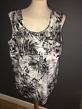 NWT KJ BRAND WHITE & BLACK PATTERN COTTON BLEND SLEEVELESS BLOUSE SZ 30 RRP £59