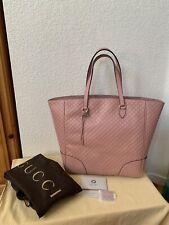 "NWT GUCCI "" Bree "" Microguccissima Soft Pink GG Leather Tote"