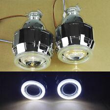 "2.5"" Bi-Xenon Hi/Lo HID Projector Kit Conversion Lens White Angel Eye COB Halo"