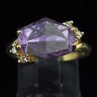 Designer Fancy Cut Amethyst Diamond and 14k Yellow Gold Ring Contemporary Modern