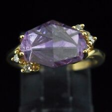 Designer Fancy Cut Amethyst Diamond and 14k Yellow Gold Ring Modern Contemporary