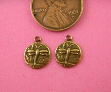 ANTIQUE BRASS DRAGONFLY CHARMS 10MMX12MM-12 PC(s)