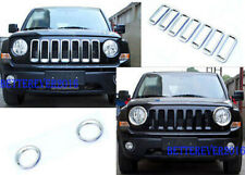 fit for Jeep Patriot 2011-2017 Chrome Front Grille Grill Trim + Headlight Cover