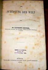 1859 Creation of the World, Schöpfung der Welt. Cosmogony: Jewish & Christian