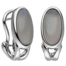 NEU Edelstein Ohrringe Omega echt Weißgold 585er 14 Karat Mondsteine grau Damen