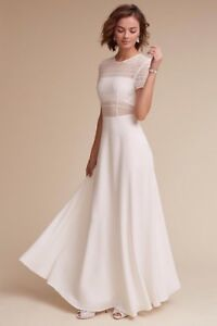 Anthropologie BHLDN Sau Lee Benson Dress Ivory Wedding Bridal Gown Size 8 $450