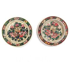 """Hand-Painted Carved Wood Floral Plates with Hangers Set Of 2 6.5"""" Diameter"""