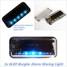 Solar Powered Car Dummy Alarm Warning Anti-Theft Flashing LED Burglar Light Blue