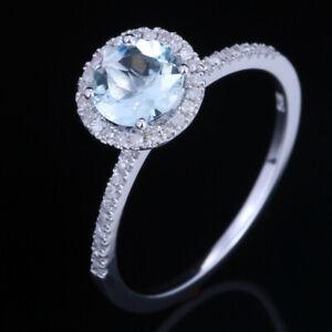 6mm Round Natural Diamond& Aquamarine Engagement Anniversary Ring 10K White Gold