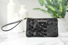 Michael Kors Jet Set Travel Large Black Leather Gusset Wristlet Clutch