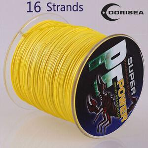 16 Strands 100M-2000M 20~500LB Yellow Hollow PE Dyneema Braided Fishing Line Pro