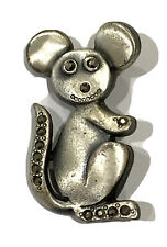"Fun Mouse Rat Animal Brooch Grey Rhinestones Silver tone 1.75""x1"""