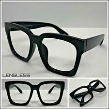 Oversized Exaggerated Thick Square Black Lensless Eye Glasses Frame Only NO Lens