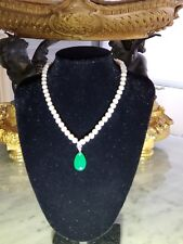 7-8mm White Akoya Cultured Pearl & Green Teardrop Emerald Necklace 17''