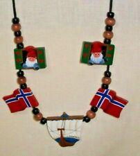 NORWEGIAN NISSE, NORWAY FLAG, VIKING SHIP WOOD ORNAMENT NECKLACE SIGNED FOLK ART