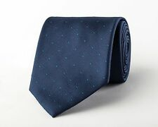 Navy Blue Twill Wide Tie Green Teal Pindot Patterned Traditional 9cm Necktie B2B