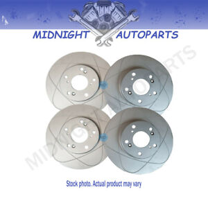Kit 2 Front & 2 Rear Slot Brake Rotors Fit Volkswagen Passat 1998, 282 mm O.D