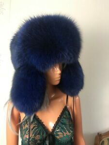 Royal Blue Fox huge full fur winter trapper hat.Saga Furs .