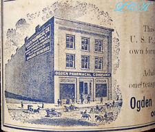 Scarce Ogden UTAH old BOTTLE w/pic of old OGDEN Pharmacal Building in old TOWN
