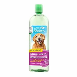 TropiClean Fresh Breath Dental Health Solution Plus Hip & Joint for Dogs 33.8...