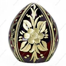 "1.7"" EASTER GLASS EGG HAND ENGRAVED ST-PETERSBURG RUSSIA TRADITIONS OF FABERGE"