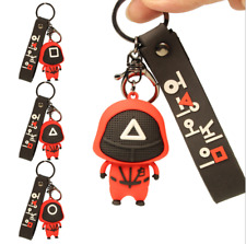 Neues Angebot3D Squid Game Figures Mask Keychain Charms Accessories Round Six Cosplay Toys