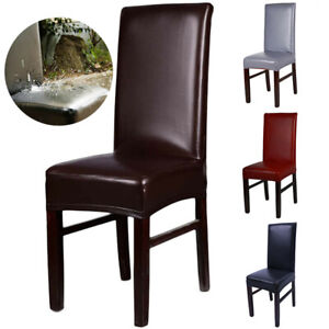 Stretchable PU Leather Dining Chair Cover Seat Protector Waterproof Slipcover