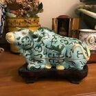 Lovely Chinese Yak or Ox Figural Ceramic Box with original carved stand