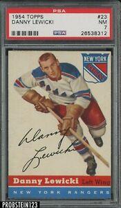 1954 Topps Hockey #23 Danny Lewicki New York Rangers PSA 7 NM