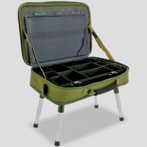 FISHING TACKLE BAG WITH TACKLE BOX & BIVVY TABLE. BOX CASE BIVVY BAG SYSTEM 612