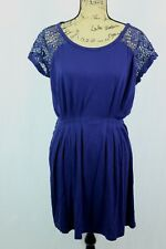 Free People M Lace Sleeve Dress Navy Blue Pleated Skirt Gathered Waist Draped