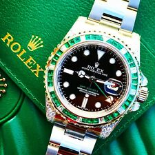 Rolex GMT Master II 2 116710LN Custom emerald & diamond bezel/shoulders 2017
