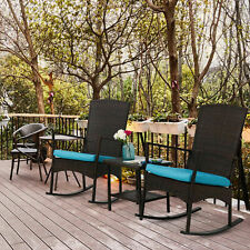 Outdoor Wicker Rocking Chair 3PCS Set Rattan Patio Furniture Table W/ Cushions