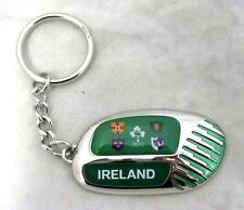 33570 RUGBY WORLD CUP 2011 IRELAND FLAG SILVER ROUND KEYRING KEY RING