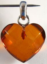 "Honey Baltic Faceted Amber Heart Pendant .925 Sterling Silver Bale 3/4"" Wide"