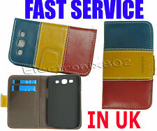 Leather Cover Case Card Pouch For Samsung Galaxy S3 III i9300 Blue Red Yellow UK